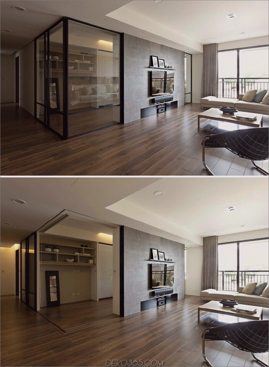 Versenkbare Innenwände im Wohnungsdesign