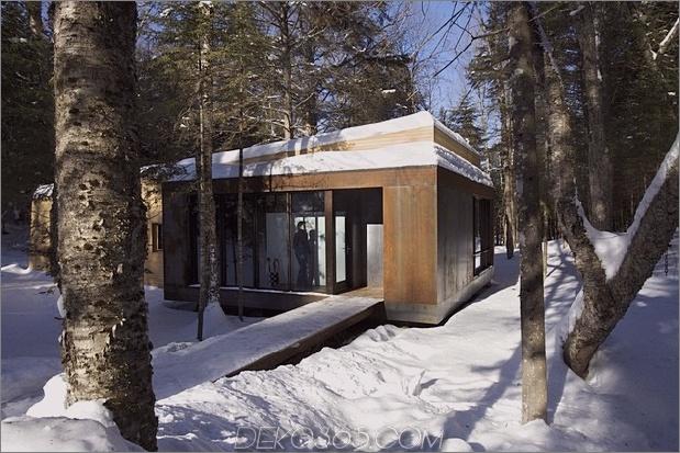 Wald-Flucht-Kabine von warmen Holzbrettern dominiert-4-Eingang.jpg