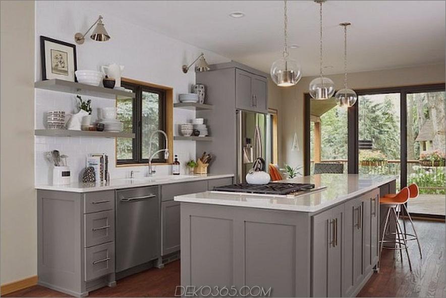 Gray Green und Weiß mit Sahne Küche