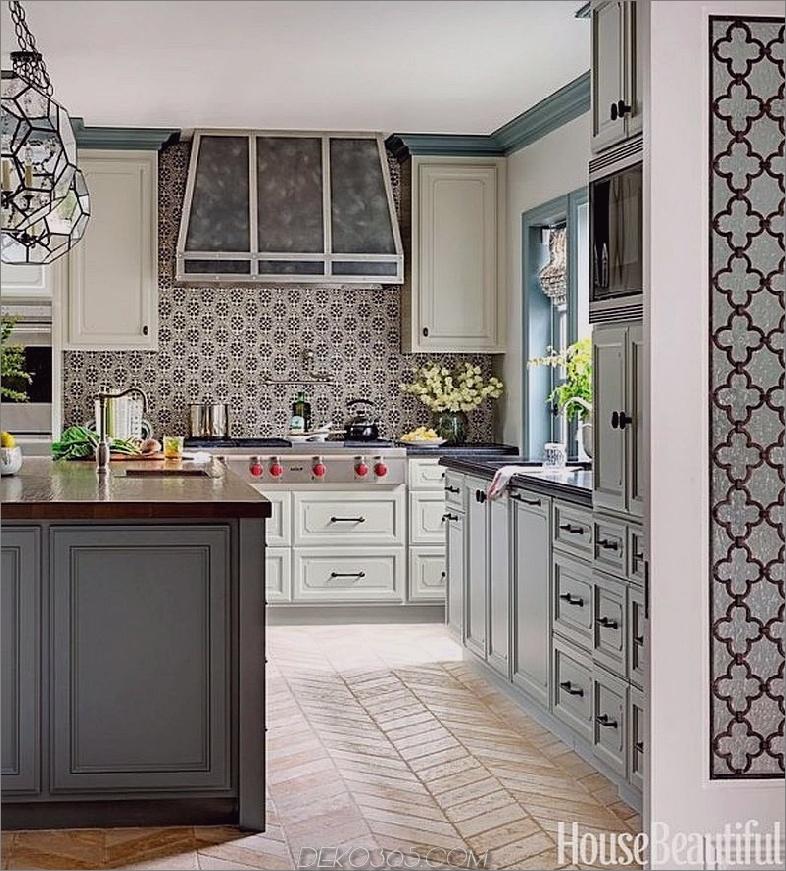 Graue grüne Küche