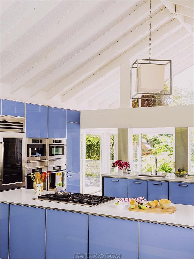 Wedgwood-Blau gehärtete Glasschränke mit Quarz-Arbeitsplatten