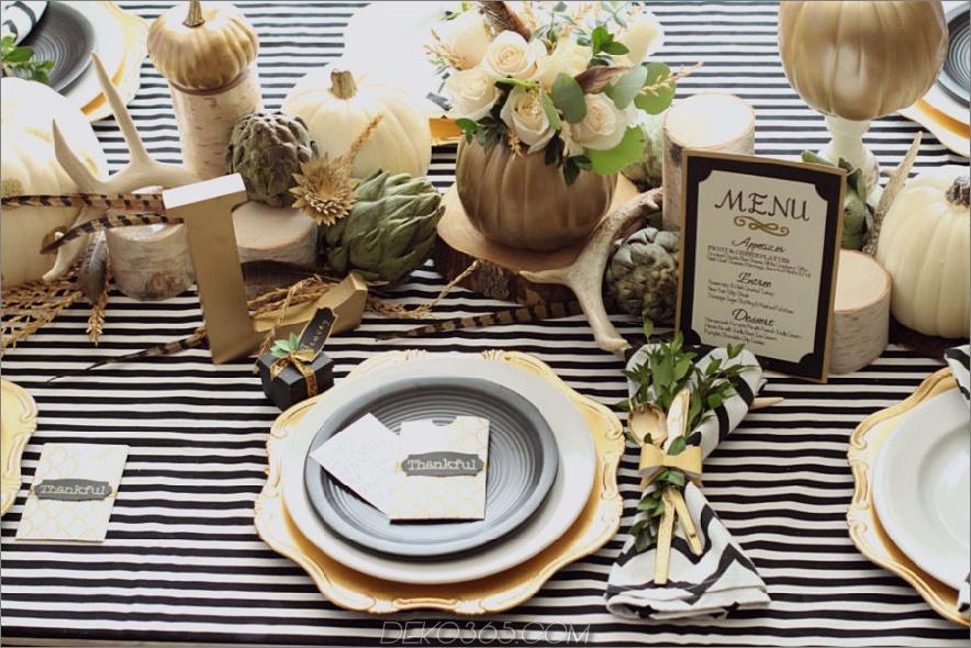 Herbst Tischdekoration mit Streifen