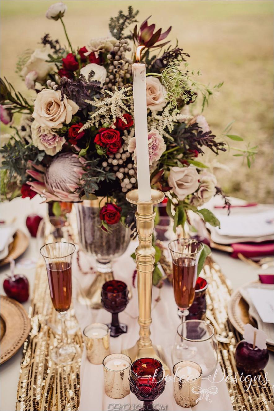 Marsala Herbst Hochzeit Gedeck