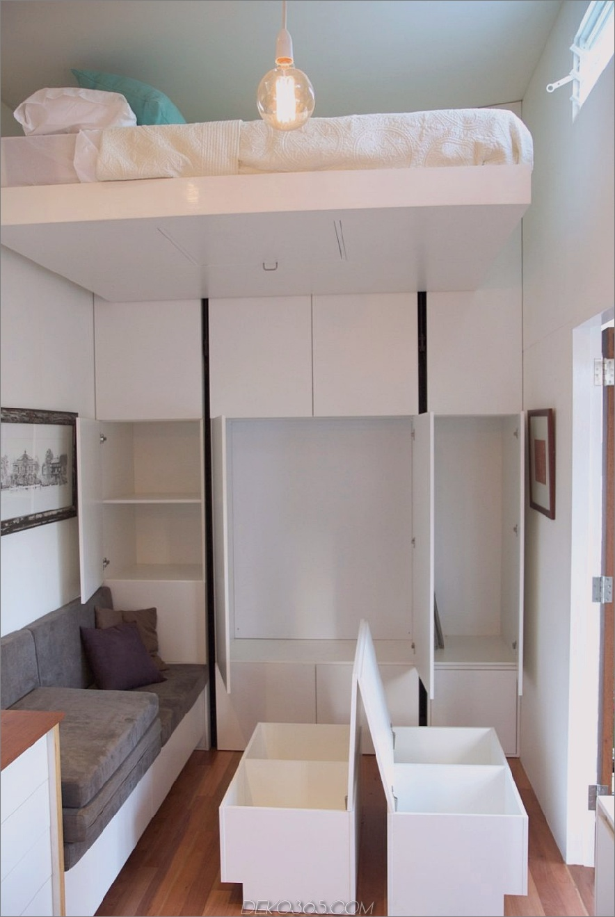 Tiny House Company kleine Lounge und Lagerung