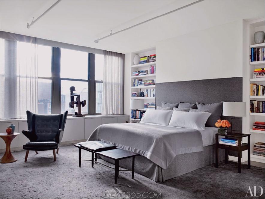 Zeitgenössisches Schlafzimmer im Apartment des New Yorker Schauspielers Will Ferrell
