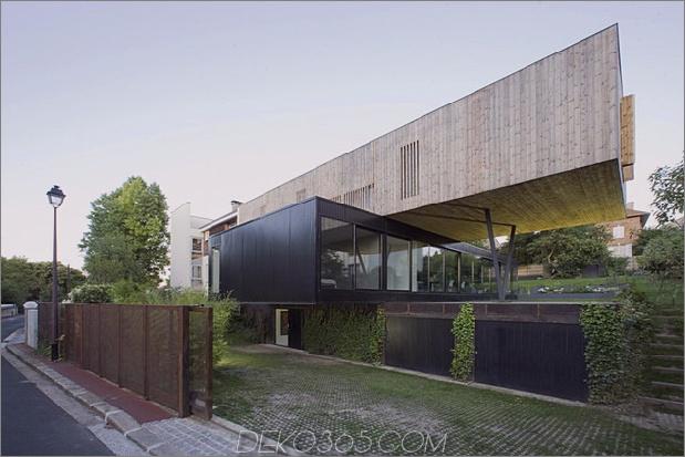 freitragendes französisches hausdesign aus holz und glas 2 thumb 630xauto 38259 Zeitgenössisches Cantilever-Hausdesign von Paris Architects